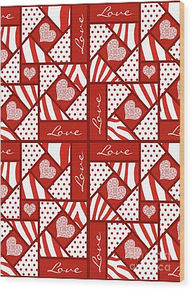 Wood Print featuring the digital art Valentine 4 Square Quilt Block by Methune Hively