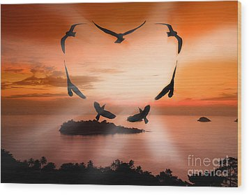 Valentine Bird Wood Print by Anek Suwannaphoom