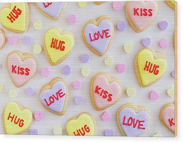 Wood Print featuring the photograph Valentine Heart Cookies by Teri Virbickis