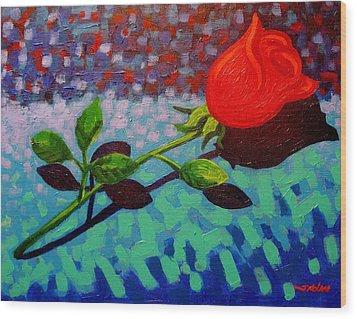 Valentine Rose Wood Print by John  Nolan
