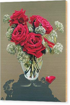 Valentine Roses Wood Print by Ora Sorensen
