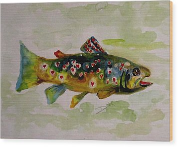 Valentine Trout Wood Print by Delilah  Smith