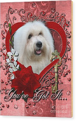 Valentines - Key To My Heart Coton De Tulear Wood Print by Renae Laughner