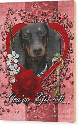 Valentines - Key To My Heart Dachshund Wood Print by Renae Laughner