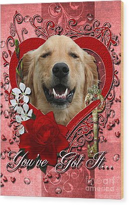 Valentines - Key To My Heart Golden Retriever Wood Print by Renae Laughner