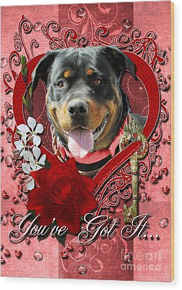 Valentines - Key To My Heart Rottweiler Wood Print by Renae Laughner