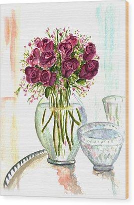 Valentines Crystal Rose Wood Print