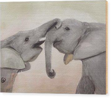Valentine's Day Elephant Wood Print