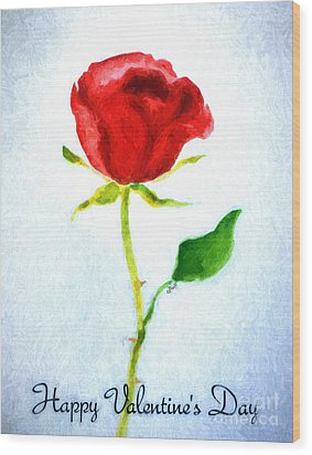 Valentine's Day Rose Wood Print by Claire Bull