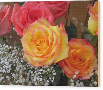 Wood Print featuring the painting Valentine's Day Roses 2 by Renate Nadi Wesley