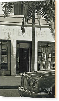 Valentino On Rodeo Drive Wood Print by Gwyn Newcombe