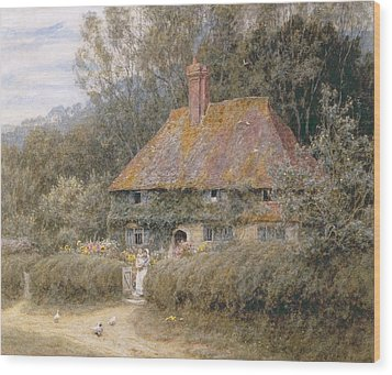 Valewood Farm Under Blackwood Surrey  Wood Print by Helen Allingham
