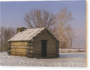 Valley Forge Cabin At Sunset Wood Print
