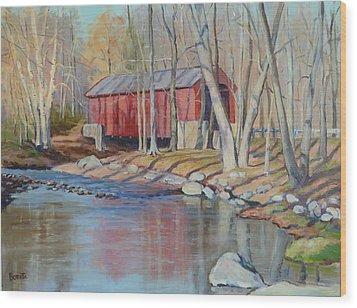 Valley Forge Covered Bridge Wood Print