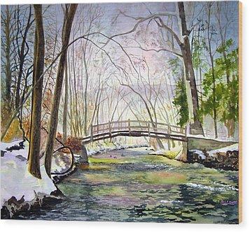Valley Forge Footbridge Wood Print by Paul Temple