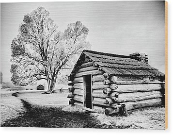 Wood Print featuring the photograph Valley Forge Winter Troops Hut                           by Paul W Faust - Impressions of Light