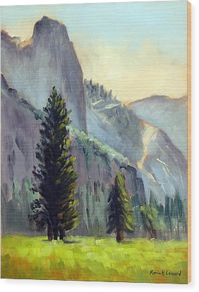 Valley Glow Yosemite Np Wood Print by Karin  Leonard