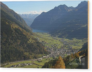 Valley In The Alps Wood Print by Stan and Anne Foster