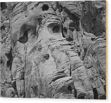 Valley Of Fire I Bw Wood Print by David Gordon