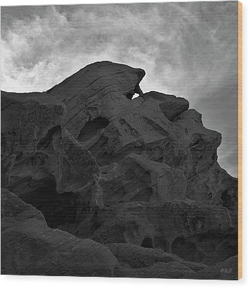 Valley Of Fire Iv Sq Bw Wood Print by David Gordon