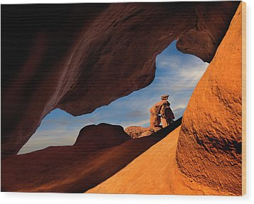 Valley Of Fire Look Through Wood Print