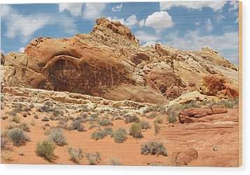 Valley Of Fire Wood Print by Mary Lane