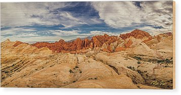 Valley Of Fire Panorama Wood Print by Rikk Flohr
