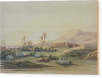 Valley Of The Nile With The Ruins Of The Temple Of Seti I Wood Print by Prosper Georges Antoine Marilhat
