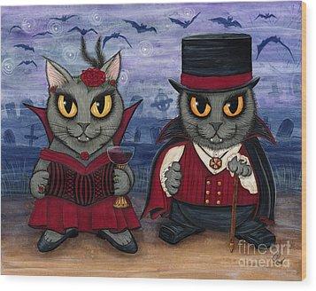 Vampire Cat Couple Wood Print