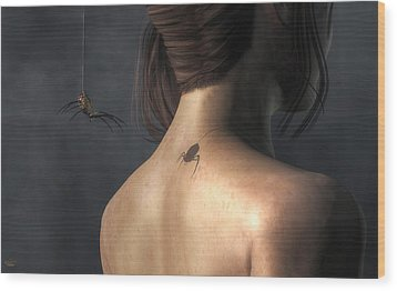 Wood Print featuring the digital art Vampire Spider by Daniel Eskridge