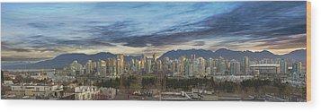 Van City Sunrise Wood Print by David Gn