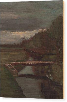 Van Gogh Ditch And Small Bridge Wood Print by Vincent Van Gogh