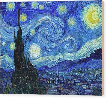 Van Gogh Starry Night Wood Print by Vincent Van Gogh