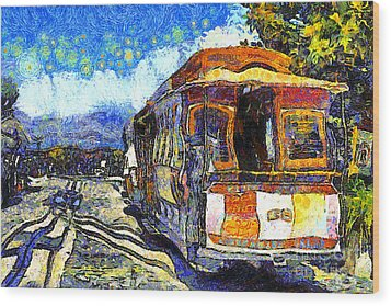 Van Gogh Vacations In San Francisco 7d14099 Wood Print by Wingsdomain Art and Photography