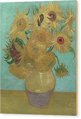 Van Gogh Vase With Twelve Sunflowers  Wood Print by Vincent Van Gogh