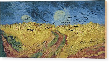Van Gogh Wheatfield With Crows Wood Print by Vincent Van Gogh