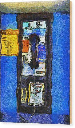 Van Gogh.s Pay Phone . 7d15934 Wood Print by Wingsdomain Art and Photography
