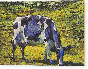 Van Gogh.s Starry Blue Cow . 7d16140 Wood Print by Wingsdomain Art and Photography