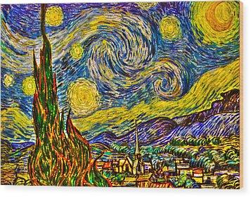 Van Gogh's 'starry Night' - Hdr Wood Print by Randy Aveille