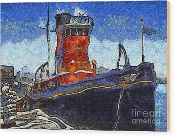 Van Gogh.s Tugboat . 7d14141 Wood Print by Wingsdomain Art and Photography