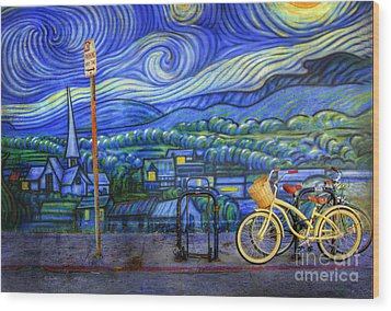 Van Gogh's Yellow And Green Bicycles Wood Print