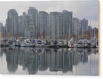Vancouver Bc - Boats And Condos Wood Print