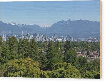 Vancouver Bc City Skyline From Queen Elizabeth Park Wood Print by David Gn