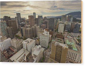 Vancouver Bc Cityscape Aerial View Wood Print by David Gn