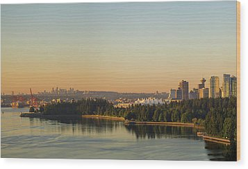 Vancouver Bc Cityscape By Stanley Park Morning View Wood Print by David Gn