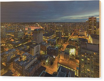 Vancouver Bc Cityscape During Evening Twilight Wood Print by David Gn