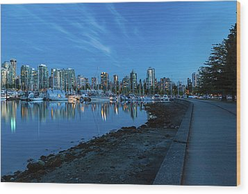 Vancouver Bc Skyline Along Stanley Park Seawall Wood Print by David Gn