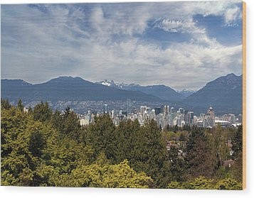 Vancouver Bc Skyline Daytime View Wood Print by David Gn