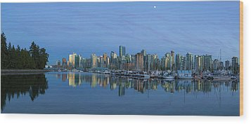 Vancouver Bc Skyline During Blue Hour Panorama Wood Print by David Gn