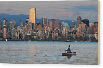 Vancouver Canoe Wood Print by Pierre Leclerc Photography